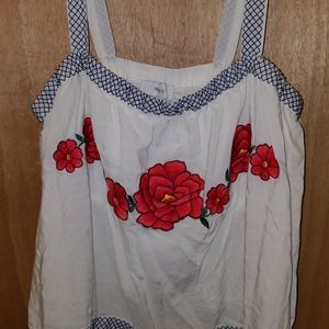 Forever21+ Rose embroidered tank top
